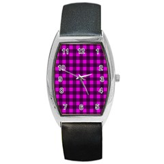 Magenta and black plaid pattern Barrel Style Metal Watch