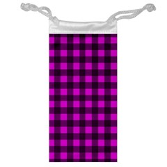 Magenta and black plaid pattern Jewelry Bag