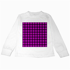 Magenta and black plaid pattern Kids Long Sleeve T-Shirts