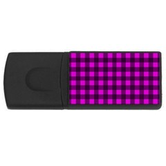 Magenta And Black Plaid Pattern Usb Flash Drive Rectangular (4 Gb)