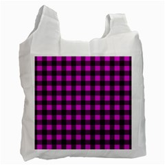 Magenta and black plaid pattern Recycle Bag (Two Side)
