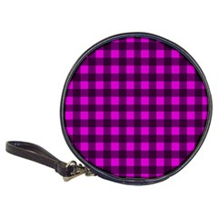 Magenta and black plaid pattern Classic 20-CD Wallets