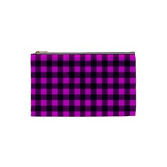 Magenta And Black Plaid Pattern Cosmetic Bag (small)