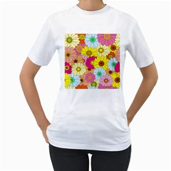 Floral Background Women s T-Shirt (White) (Two Sided)
