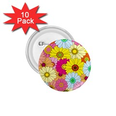 Floral Background 1.75  Buttons (10 pack)