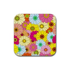 Floral Background Rubber Coaster (Square)