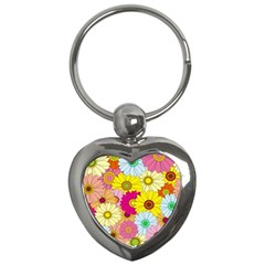 Floral Background Key Chains (Heart)