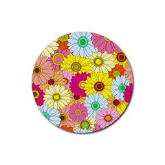 Floral Background Rubber Round Coaster (4 pack)