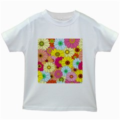 Floral Background Kids White T-Shirts