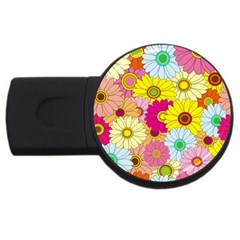 Floral Background USB Flash Drive Round (1 GB)