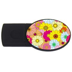 Floral Background USB Flash Drive Oval (1 GB)