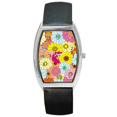 Floral Background Barrel Style Metal Watch