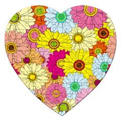 Floral Background Jigsaw Puzzle (Heart)