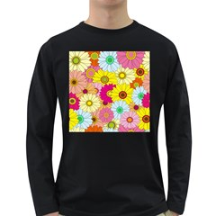 Floral Background Long Sleeve Dark T-Shirts