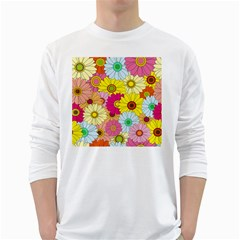 Floral Background White Long Sleeve T-Shirts