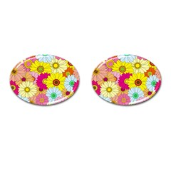 Floral Background Cufflinks (Oval)
