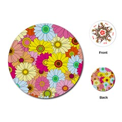 Floral Background Playing Cards (round)