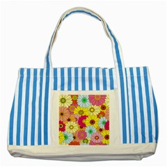 Floral Background Striped Blue Tote Bag