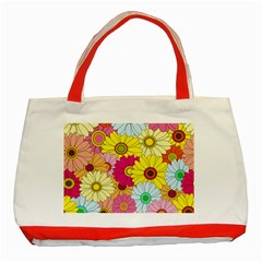 Floral Background Classic Tote Bag (Red)
