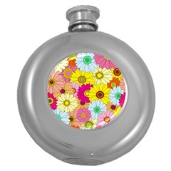Floral Background Round Hip Flask (5 oz)