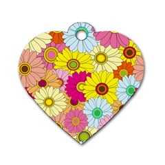 Floral Background Dog Tag Heart (One Side)