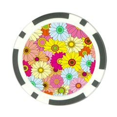 Floral Background Poker Chip Card Guard