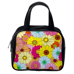 Floral Background Classic Handbags (One Side)