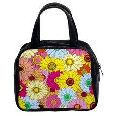 Floral Background Classic Handbags (2 Sides)