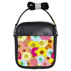 Floral Background Girls Sling Bags
