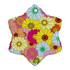 Floral Background Snowflake Ornament (two Sides)