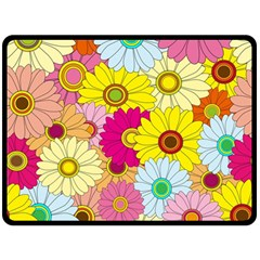 Floral Background Double Sided Fleece Blanket (Large)
