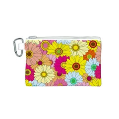 Floral Background Canvas Cosmetic Bag (S)