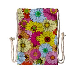 Floral Background Drawstring Bag (Small)