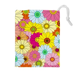 Floral Background Drawstring Pouches (extra Large)