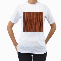 Texture Tileable Seamless Wood Women s T-Shirt (White) (Two Sided)