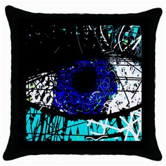 Blue eye Throw Pillow Case (Black)