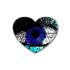 Blue Eye Rubber Coaster (heart)