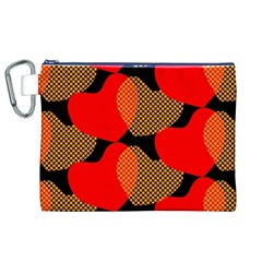 Heart Pattern Canvas Cosmetic Bag (XL)
