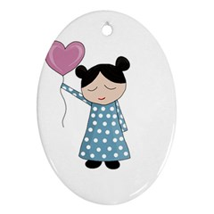 Valentines day girl Oval Ornament (Two Sides)