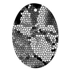 Mosaic Stones Glass Pattern Oval Ornament (Two Sides)