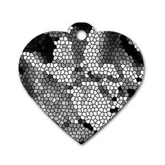 Mosaic Stones Glass Pattern Dog Tag Heart (Two Sides)
