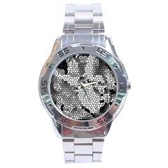 Mosaic Stones Glass Pattern Stainless Steel Analogue Watch