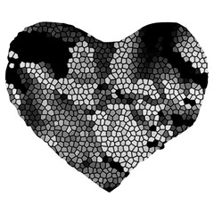 Mosaic Stones Glass Pattern Large 19  Premium Flano Heart Shape Cushions