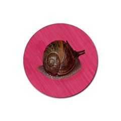 Snail Pink Background Rubber Round Coaster (4 Pack)