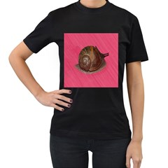 Snail Pink Background Women s T-Shirt (Black) (Two Sided)