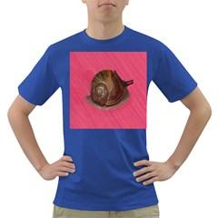 Snail Pink Background Dark T Shirt