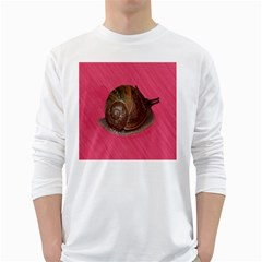 Snail Pink Background White Long Sleeve T Shirts