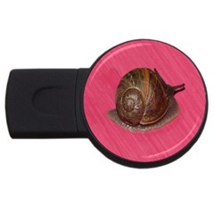 Snail Pink Background USB Flash Drive Round (4 GB)