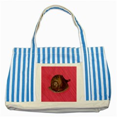 Snail Pink Background Striped Blue Tote Bag