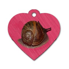 Snail Pink Background Dog Tag Heart (One Side)